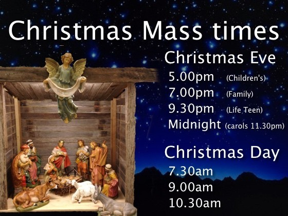 Christmas Eve: 5.00pm, 7.00pm, 9.30pm & Midnight; Christmas Day: 7.30am, 9.00am, 10.30am